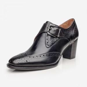Nuevo estilo de cuero auténtico Calfskin tobillo botas de tacón para mujer