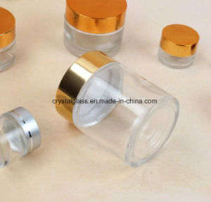 Kruik van de Room van het glas de Kosmetische met Gouden GLB