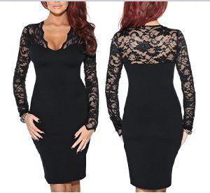 Lbd горячая продажа Sexy женщин Bodycon длинной втулки / оболочки V-образный вырез горловины кружева платья