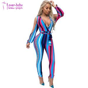 Últimas Nuevo diseño elegante mujer profunda V Lisa Jumpsuit de impresión