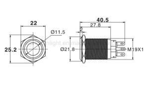 19mm SPDT momentáneo de 3V 5V 6V 12V 24V el anillo rojo de metal iluminado Interruptor Pulsador de Acero Inoxidable