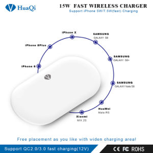 iPhoneまたはSamsung (4つのコイル)のための最も安く速い15Wチーの無線可動装置か携帯電話の充満ホールダーまたはパッドまたは端末または充電器