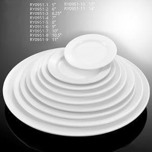A placa de porcelana plana redonda para hotéis e restaurantes