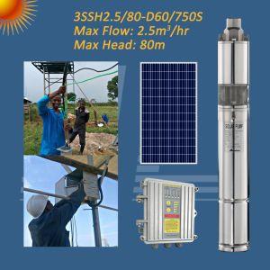 1HP 3pouce, de la pompe submersible solaire trou de forage de la pompe de puits profond solaire