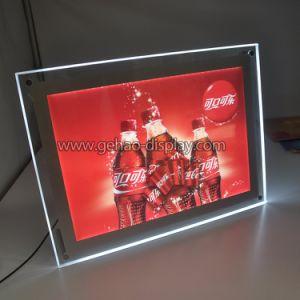 Détenteur du panneau magnétique de l'acrylique signe avec des voyants LED pour le dossier de table
