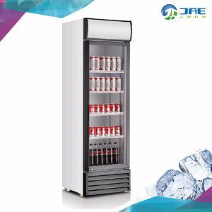 Solo la puerta de cristal en posición vertical del enfriador de bebidas mostrar