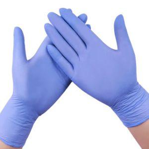 Одноразовые синий нитриловые перчатки исследования
