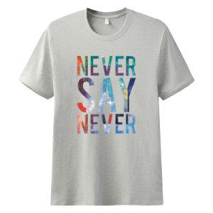 Logotipo da impressão de bricolage homens gargalo redondo de moda casual T-Shirts Superior