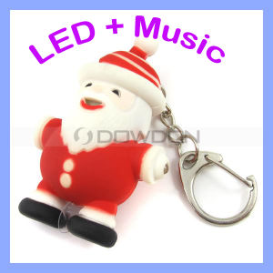 Weihnachten Rubber LED Keychain Keyrings mit Sound für Promotion
