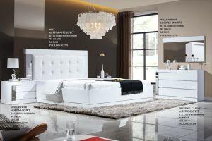 Aço inoxidável MDF CAMA DE CASAL CAMA DE MADEIRA Conjunto Quarto King Size cabeceira elevada moderno mobiliário doméstico