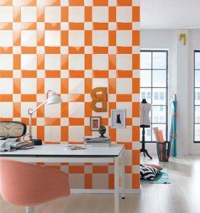 De oranje 3X6inch/7.5X15cm Glanzende Schuine rand verglaasde de Ceramische Tegels van de Sublimatie van de Tegel van de Metro van de Tegel van de Muur