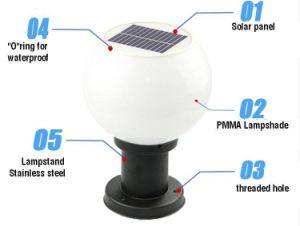 太陽柱ランプの丸いボールが付いている太陽ポストライト