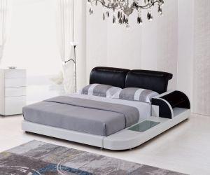 [مولتي-فونكأيشنل] جلد غرفة نوم مجموعة مع [لد] إضاءة خفيفة