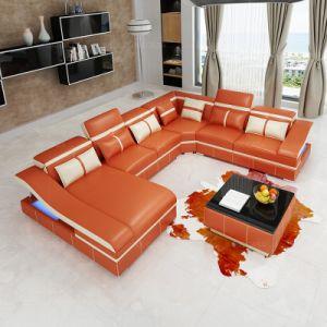 Mobilia di Divansoffor con il sofà di cuoio nero del LED