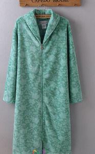Flanella stampata abito con la chiusura lampo