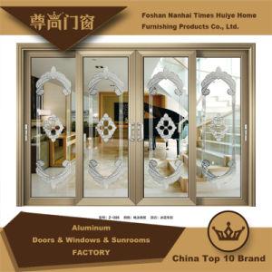 Portello scorrevole decorativo di alluminio interno con 4 comitati di vetro