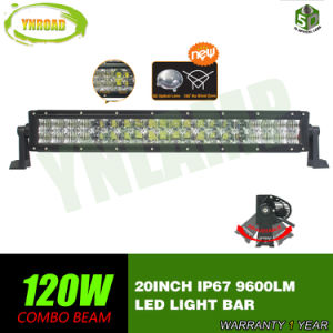 Curva de 20 pulgadas 120W 5D de doble LED las filas de la barra de luces de conducción