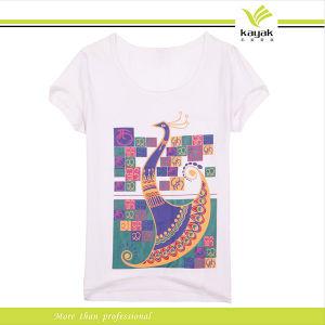 Magliette stampate acqua delle donne di disegno di modo di abitudine 2014 (KNR-102)