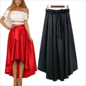 Vestuário de moda de cordões irregulares roupas saia de pregas longa expansão