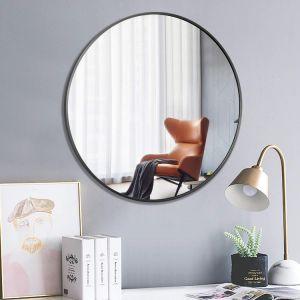 Wall-Mounted espejo redondo grande maquillaje decorativo espejo enmarcado con marco negro para el dormitorio, baño entrada Comedor