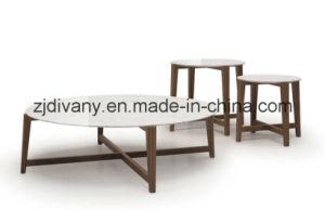 Estilo moderno europeu de topo em mármore de madeira mesa de café ao redor da mesa de chá (T-85A+B+C)
