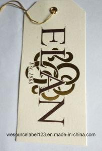 Goldfolien-Entwurfunbeschichteter PapierHangtag mit Zeichenkette