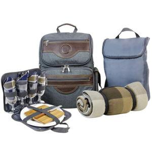 Sac à dos pique-nique Sac isotherme pour 4, randonnée et camping Ensemble sac à dos avec refroidisseur d'séparés Tote Win Sac de pique-nique, mobiliers dîner, les plaques de transporteur