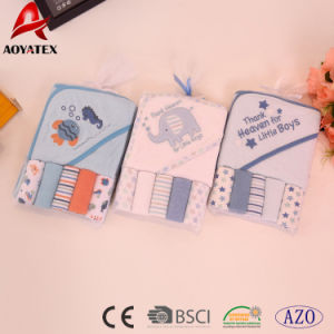 Design de desenhos animados de animais bebé Kids Bambu Encapuzados 5+1 Toalha de banho