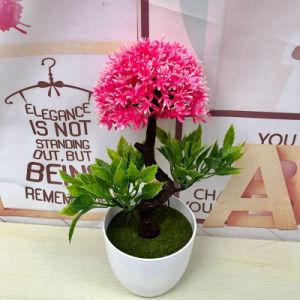 Venda por grosso de plantas artificiais de plástico Mini Faux Bonsai Flor de seda para Home Office Decoração Pública