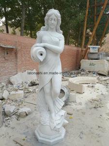 De witte Marmeren Vaas van de Greep van het Standbeeld van de Steen met Gat voor de Fontein van het Water