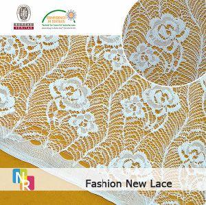 Tissu en nylon de lacet de coton
