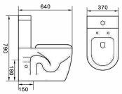 Marca de água sanitária 4.5/3litro sem rebordo parede que faceia Wc Redonda (6010)