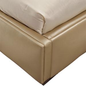 Cama de diseño moderno con cubierta de cuero para Muebles de Dormitorio G7005