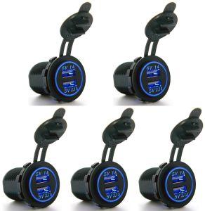 Adapter van de Contactdoos van de Adapter van de Lader van de Auto USB van de motorfiets USB de Waterdichte gelijkstroom 12V Dubbele 5V 2.1A 1A voor AutoiPhone Huawei Xiaomi van de Boot