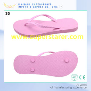 Simple PE de couleur rose Diapositive Flip Flop pour dames