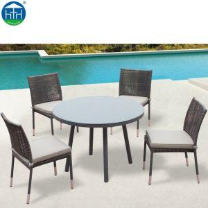 Jardim Piscina móveis de vime cadeira e mesa de jantar em vime definido