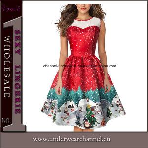 Sexy mujer vestidos de fiesta de Navidad Santa Claus disfraz (TG18055-1 impresa)