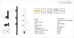 Max16.5W/M de haute qualité Cabinet Slideable Head Light lumière