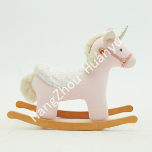 Rocking Horse Animal-Unicorn Madeira Labebe carona sobre brinquedos