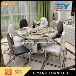 Mobiliário de metal redonda de aço inoxidável, mesa de jantar