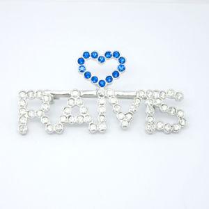 Il cristallo su ordinazione d'argento semplice esprime il Pin del Brooch della lettera, Pin iniziale di nome