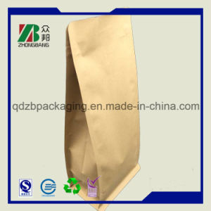 Плоский низ ламинированные крафт-бумаги сумка с молнией