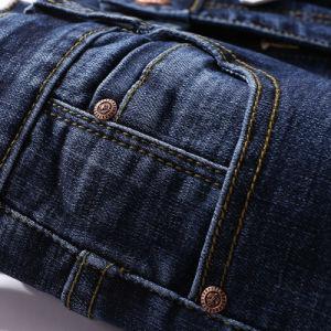 2019 Primavera Indigo Blue sarja de algodão rasgado homens calça jeans