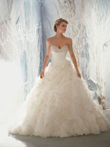 Vestido de boda sin tirantes elegante del vestido nupcial de Organze