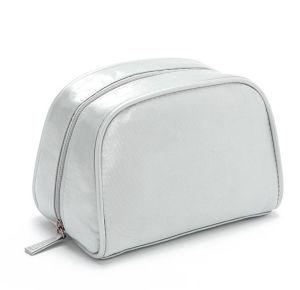 Dama Moda PU satinado plata aseo cosméticos Bolsa de lavado (YKY7517)