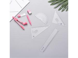 플라스틱 나침의 통치자는 7 세트 학생 나침의 수학 색칠 연장 세트를 놓았다
