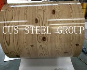 Le grain de bois d'encre couleur feuilles imprimées design pattern de bois et acier en bobines
