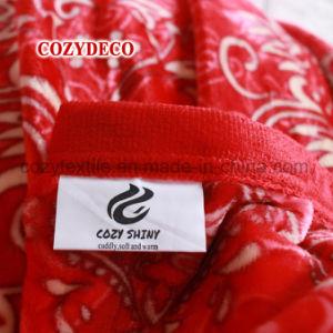 أحمر أثر قديم زهرة يطبع فانل صوف سرير غطاء