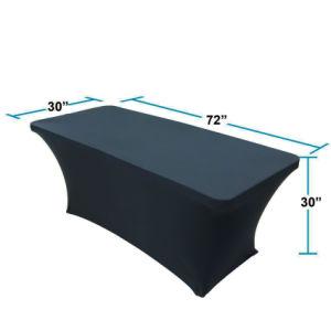 con il vostro Spandex del nero di marchio panni della Tabella da 6 FT coperchio misura della tovaglia, coperchio rettangolare della Tabella da 6 pollici del piede 72X30X30