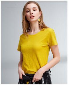 Eco-Friendly 여자 주문 상표 레벨을%s 가진 대나무 섬유 t-셔츠